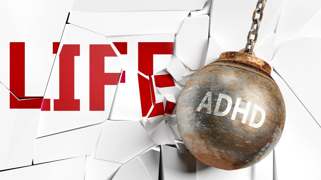 Adhd and life - pictured as a word Adhd and a wreck ball to symbolize that Adhd can have bad effect and can destroy life, 3d illustration