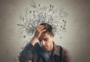 man with jumbled thoughts